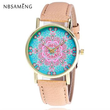 New Women Watch Mandala Pattern Golden Fashion Wristwatch Casual Watches Leather Ladies Clock Relojes Feminino LZ4224