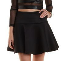 Black Scuba Knit Drop Waist Skater Skirt by Charlotte Russe