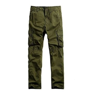 Casual Cotton Multi-Pocket Long Trousers Outdoor Solid Color Plus Size Cargo Pants For Men