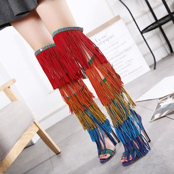 Colorful Sexy Over Knee High Gladiator Shoes High Heels Sandals Cross Strappy Stiletto Summer Boots Shoes Woman Zapatos Mujer