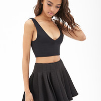 FOREVER 21 Quilted Skater Skirt Black