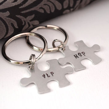 Personalized Puzzle Piece Keychain Set- Couple Keychain Set- Handstamped Keychains