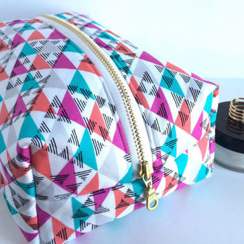 Large Boxy bag, Boxy Makeup Bag, Large Makeup Bag, Boho Makeup Bag, Large Cosmetic Case, Toiletry Bag