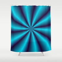 Spinning Blue Shower Curtain by Eric Rasmussen