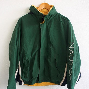 BIG SALE 25% NAUTICA Sailing Vintage 90's Hip Hop Snowbeach Streetwear Yellow Green Reversible Hoodie Windbreaker Jacket Coat Size M