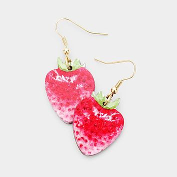 Watercolor Wood Strawberry Earrings