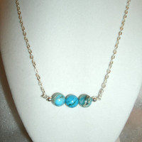 Turquoise Blue Ocean Jasper Bead and Silver Plated Chain Necklace - beautiful colors, gift for her, Ocean Jasper