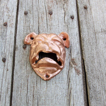 Bottle Opener Bull Dog Wall Mount Metallic Copper Rustic Cast Iron Open Here Bar Decor Home Brewing Tool Distressed Paint