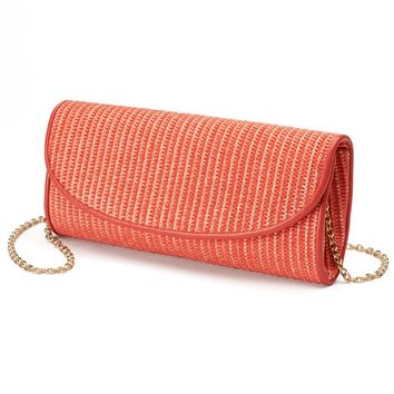 Lenore by La Regale Raffia Convertible Clutch (Coral)