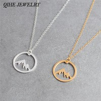 QIHE JEWELRY Pendant necklace Mountain necklace Mountain range charm jewelry Mountains are calling Hiking gift for her him