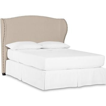RALEIGH UPHOLSTERED WINGBACK BED & HEADBOARD WITH NAILHEAD