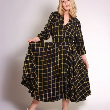 Black and Yellow Button Through Dress / XS