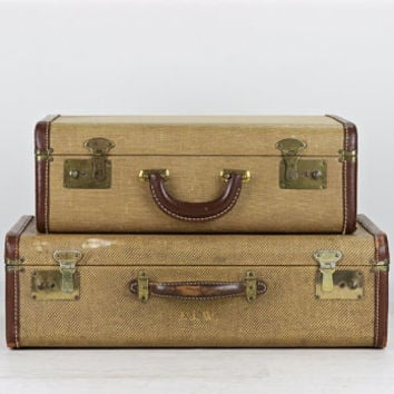 Vintage Suitcases, Stack Of Suitcases, Vintage Luggage, Tweed Suitcase Stack, Old Suitcases, 1940 Suitcases, Suitcase Stack, Old Luggage