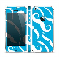 The White Mustaches with blue background Skin Set for the Apple iPhone 5