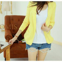2015 2015 Blazer Feminino Korean Women Slim Shrug Suit Blazer Coat Long Sleeve Casual Cardigan Outwear New