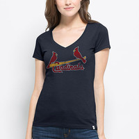 '47 Brand T-Shirt - Cardinals Navy Blue Flanker MVP Short Sleeve V-Neck