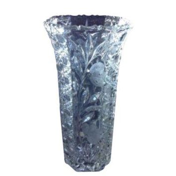 Large Vintage Etched Floral Glass Vase Tall Decorative Flower Arranging 367