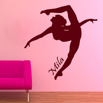 Sport Wall Decals Girl Gymnast Personalized Name Gym Interior Design Vinyl Decal Sticker Home Art Mural Kids Nursery Baby Room Decor KG707