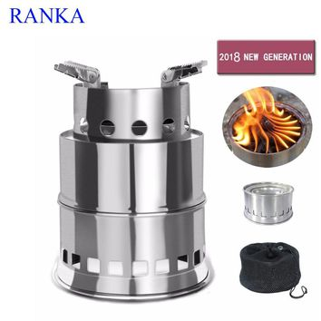 Camping Stove Portable Stainless Steel Wood Burning Stove camping equipment for Outdoor Backpacking Hiking Traveling Picnic BBQ