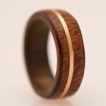 wood ring with copper inlay  curly hawaian koa wood