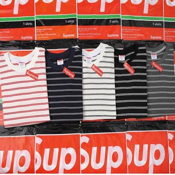 Supreme Women Men Fashion Stripe Casual T-Shirt-1