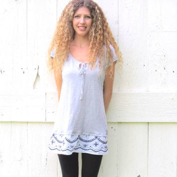 Womens Gray Tunic Top Upcycled Bohemian Shirt Recycled Gap Size Med , Indie Fashion Refashioned clothing eco friendly clothes by wearlovenow