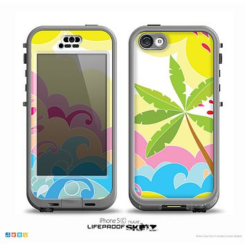 The Cartoon Bright Palm Tree Beach Skin for the iPhone 5c nüüd LifeProof Case