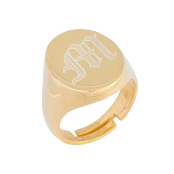 Oval Old English Initial Ring