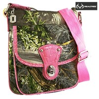 Small Licensed Realtree Real Tree Brand Cross Body Messenger Bag Purse (Pink)