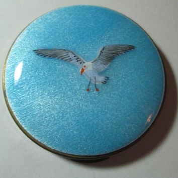 Gorgeous Light Blue Guilloche Enamel Compact Unused With Painted Full Wing Spread Bird Seagull