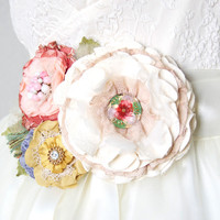 Garden Party Wedding Dress Sash with Colorful Fabric Flowers