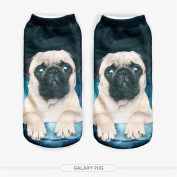 Dog Cat Low Cut Ankle Socks Funny Crazy Cool Novelty Cute Fun Funky Colorful