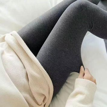 Thicken Winter Knit Cotton Slim Double Color Leggings [119853940761]