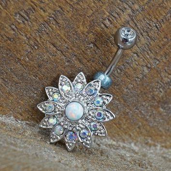 Opal and Aurora Borealis Crystal Belly Button Ring Flower