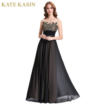 Kate Kasin Lace Appliques Bridesmaid Dresses Long Patterns Floor Length Junior Prom Dress Black Bridesmaids Dresses for Wedding