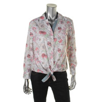 Style & Co. Womens Petites Floral Print Long Sleeves Casual Top