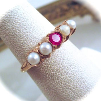 Antique 14k GOLD PEARL RING 14k Gold Red Ruby Glass Stone Cultured Pearl Ring Size 5