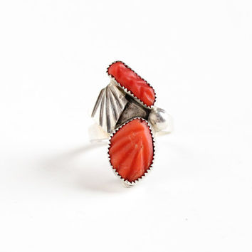 Vintage Sterling Silver Coral Ring - Retro Size 5 3/4 Southwestern Native American Style Leaf Stud Boho Pink Stone Jewelry