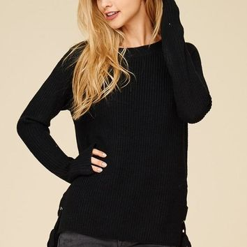 Side Lace Up Sweater - Black