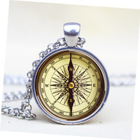 Vintage compass pendant  Steampunk compass necklace Steampunk compass jewelry for men for her