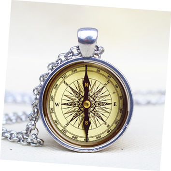 Vintage Compass Pendant Steampunk Necklace Jewelry For Men Her