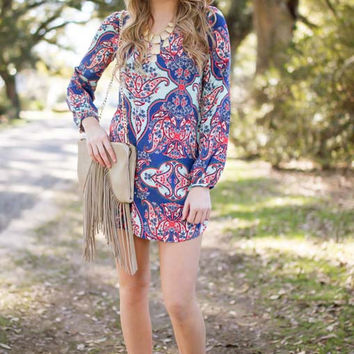Pinch Me I'm Paisley Printed Long Sleeve Dress