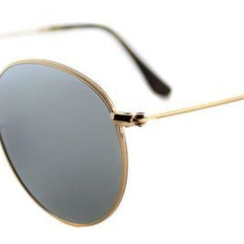 Kalete Authentic Ray-Ban RB 3447N 001/30 Round Metal Gold Sunglasses Flat Flash Lens