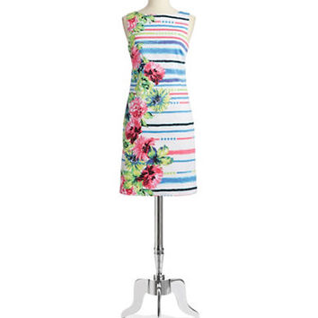 Chetta B Floral and Striped A Line Dress