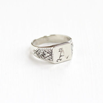 "Vintage Sterling Silver Art Deco Letter ""A"" Ring - Antique Size 5 1/2 Monogrammed Signet Initial Jewelry with Script Letter"