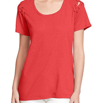 Jessica Simpson Cassidie Lace-Up Sleeve Knit T-Shirt