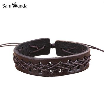 Drop Shipping Hot 2017 New Mens Jewelry Fashion Men/ Punk Bracelets Bangles Braided Leather Rope Retro Bracelet sa043