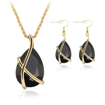 Alloy Inlaid Crystal Necklace Earrings Jewelry Set