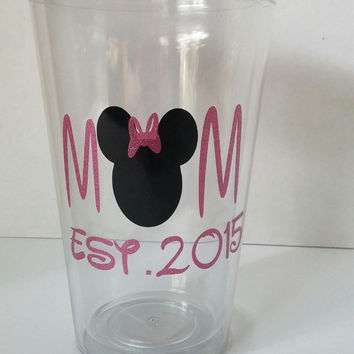 Mom Est. 2015,Minnie tumbler,Mommy to be tumbler,New mom gift,babyshower gift,Mothers Day new mom gift,Mom to be 2015 tumbler,Minnie Tumbler