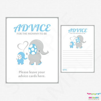 Elephant Baby Shower Boy, Blue and Gray, Advice for the new mommy, Printable Instant Download, Advice for Mom, Advice for Mommy to Be, ELLBG